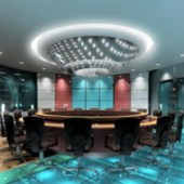 Luxury Circle Conference Room Free 3dmax Scene