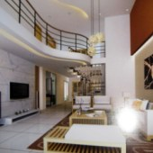 Interior Design 3dMax Scene of Living Room