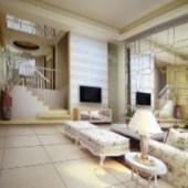 The European Paperback Living Room Free 3dmax Model