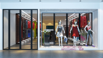 Stylish Women Clothing Store Interior Scene 3d Model 3ds
