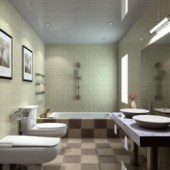 Modern Minimalist Bathroom Free 3dmax Model