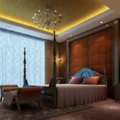 European Luxury Bedroom Scene Free 3dmax Model
