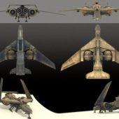 Futuristic Combat Jet Rigged