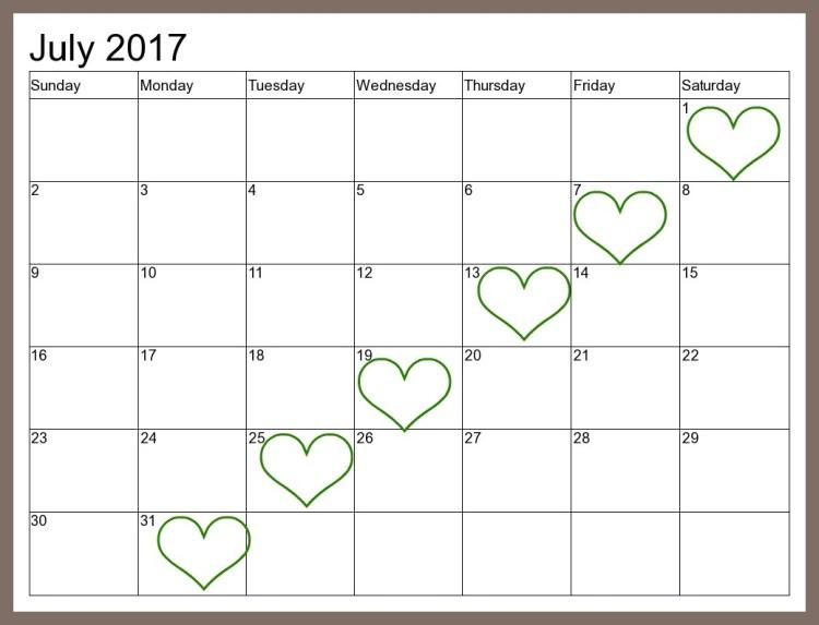 Free Printable July Calendar {Easy-Print 2015 2016 2017}