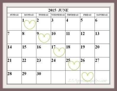 Printable June 2015 Calendar PDF Download