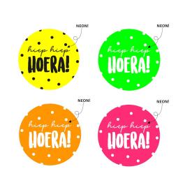 Wensetiket 'Hiep Hiep Hoera' Neon
