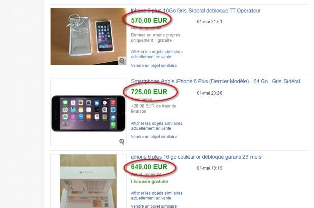ventes terminées iPhone 6 plus sur EBay