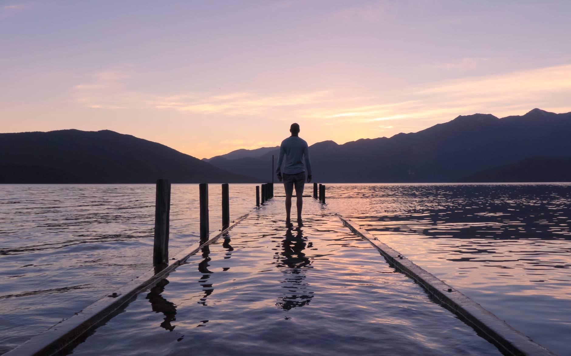 alone beach calm dawn