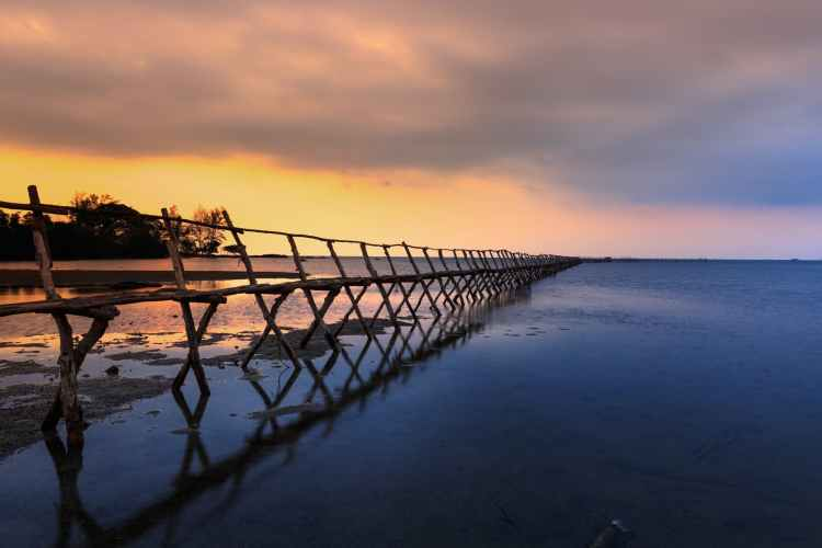 wood jetty light sea