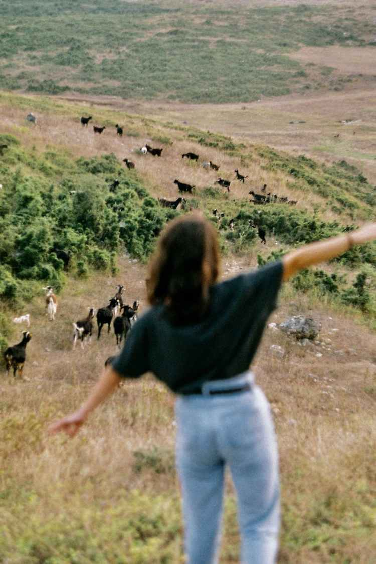 woman with outstretched arms standing on hill with grazing goats