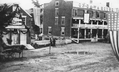 North Street showing the Ondowa Hotel decorated for the for the arrival of the 123rd Regiment on July 1, 1865.