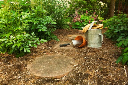 Tools on the Forest Path Set up and Ready to Garden
