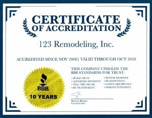 Better Business Bureau 10 Years Certificate of Accreditation