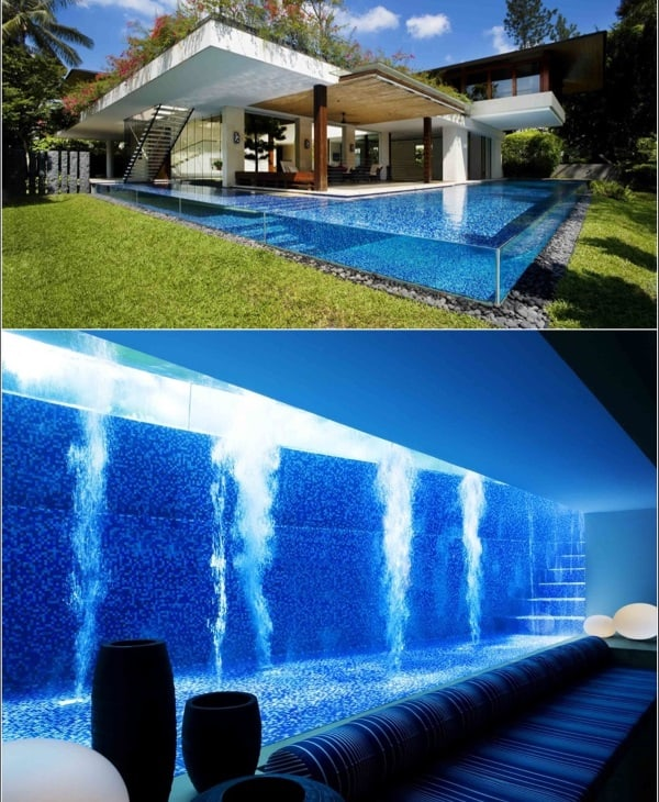 basement glass pool