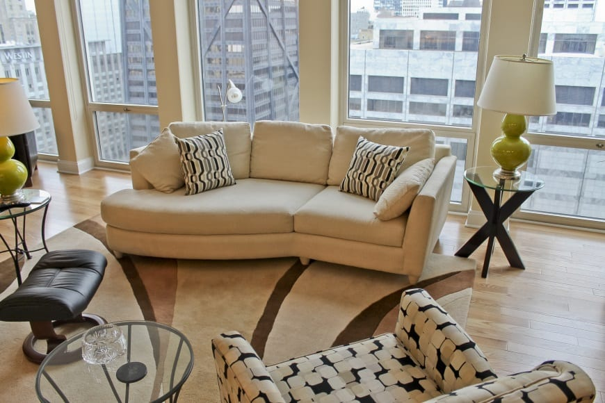 magnificent mile condo remodel 111 e chestnut living room