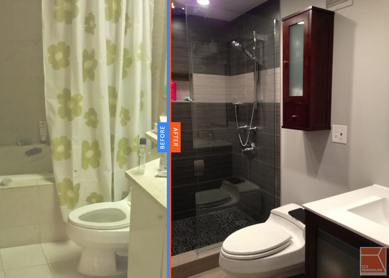 River North condo bathroom remodeled, replaced bathtub with walk-in shower.
