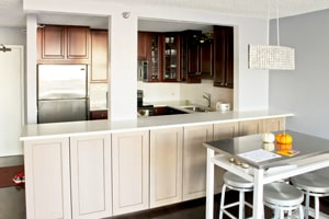 condo kitchen remodeling use of white bright color