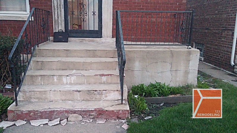 Before Concrete Staircase Project - 8940 S. Jeffery Blvd, Chicago, IL (South Shore)