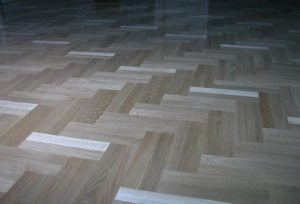 parquet herringbone wood-look tile