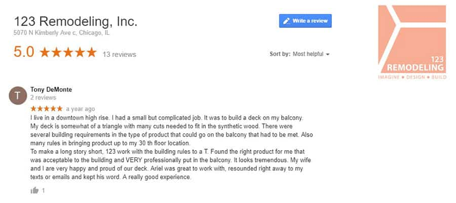 123 Remodeling Google review for Magnificent Mile patio deck project in Chicago