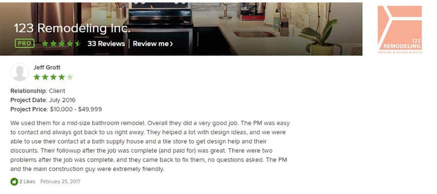 123 Remodeling Houzz review for Magnificient Mile condo bathroom remodel in Chicago