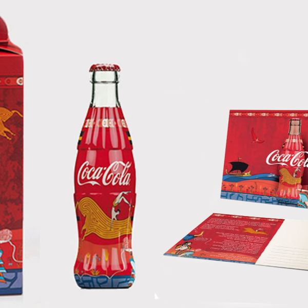 Coca Cola Collectible Minoan Glass Bottle 250ml 8.45oz New + Box + Post Card Rare Crete Greece Anniversary Limited Edition 2017