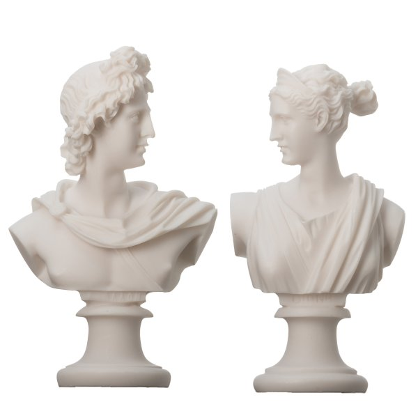 Artemis Diana  and Apollo Bust Greek Statues Figurine Gods Alabaster  5.9""