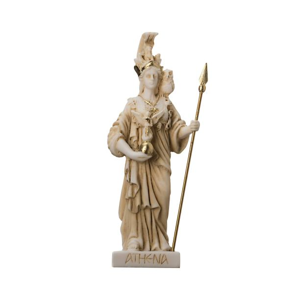 Athena with Owl Goddess of wisdom and war Alabaster Gold tone Statue 6.29″
