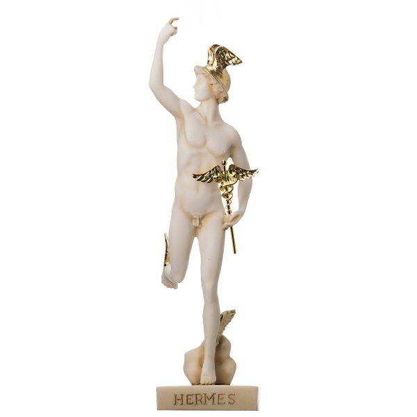 Hermes Mercury God Zeus Son Roman Statue Alabaster Gold Tone 9.25″ 23.5cm