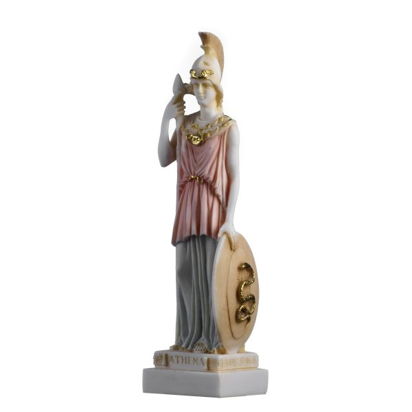 Athena Goddess of wisdom, handicraft and war Hand Painted Alabaster Statue 9.8 ""