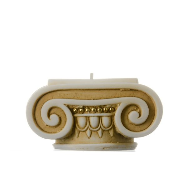 Ionic Order Candle Holder Golden Handmade & Handpainter Ancient Greek Column Decoration Architecture Alabaster