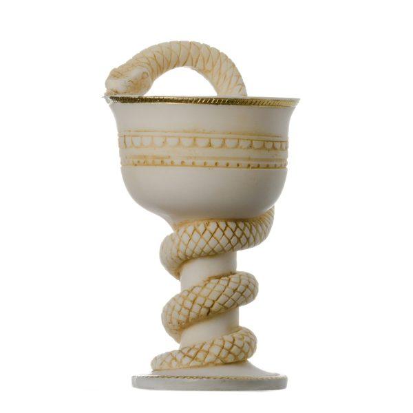 Cup Of Asclepius Rod Greek God Of Medicine Doctor Symbol Alabaster Handmade Statue
