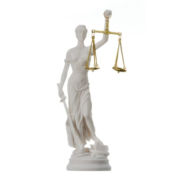 Greek goddess themis statue Alabaster figurine blind lady justice sculpture lawyer gift 10.23″ 26cm