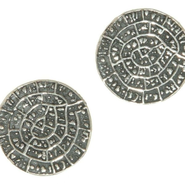 Phaistos Disc Earing Silver Sterling 925 Mythical  Greek S