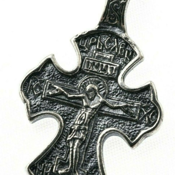 Orthodox Cross Russian Greek Crucifix Silver 925 Precious Prayer 1.10″