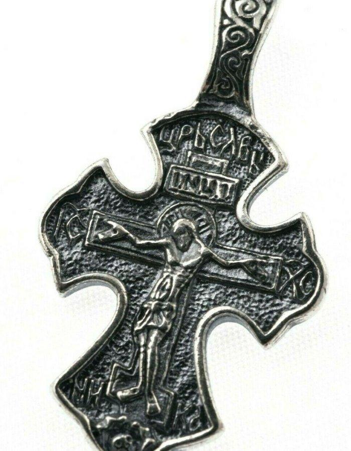 Orthodox Cross Russian Greek Crucifix Silver 925 Precious Prayer 1.10″