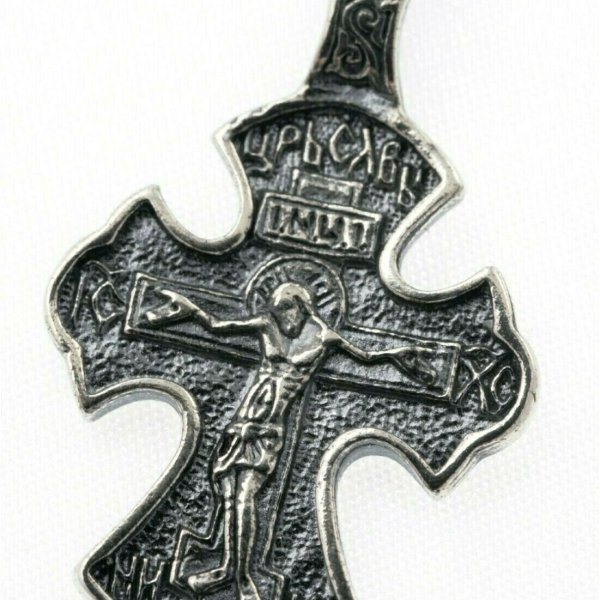 Russian Orthodox Cross Jesus Christ Silver 925 1.22″