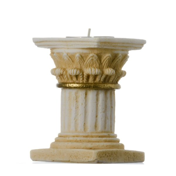 Romantic Dinner Candle Corinthian Order Holder Ancient Greek Column  Gold Tone 3.9″