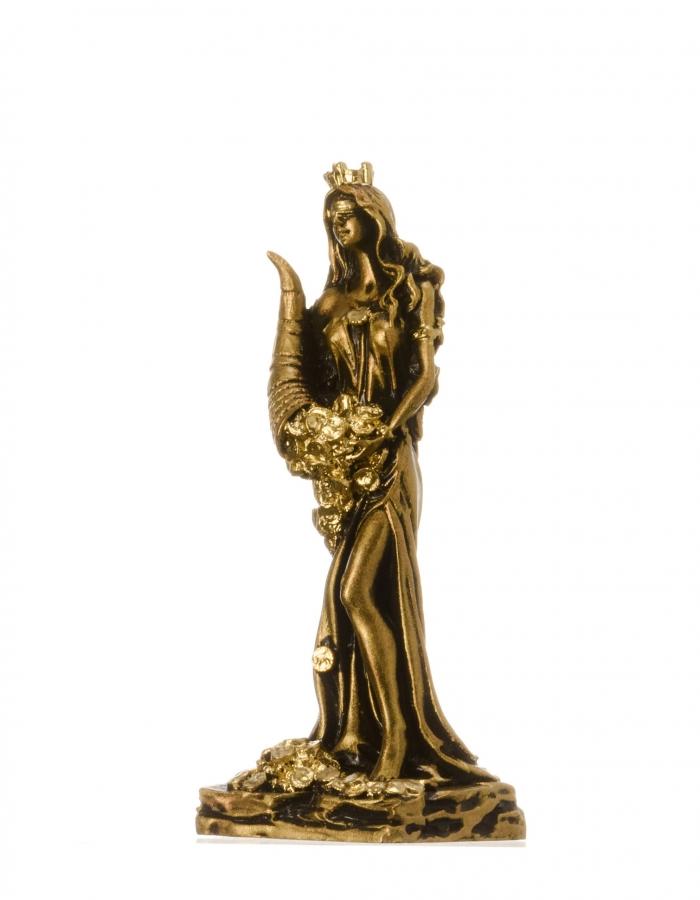Goddess Of Wealth Tyche Fortuna Statue Alabaster Sculpture Bronze Tone 5″