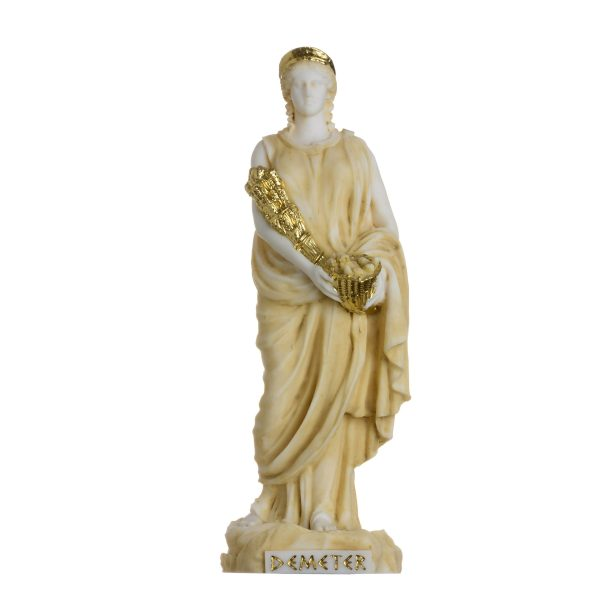 Demeter Goddess of the harvest and agriculture  Alabastater  Statue Gold Tone 6.7″