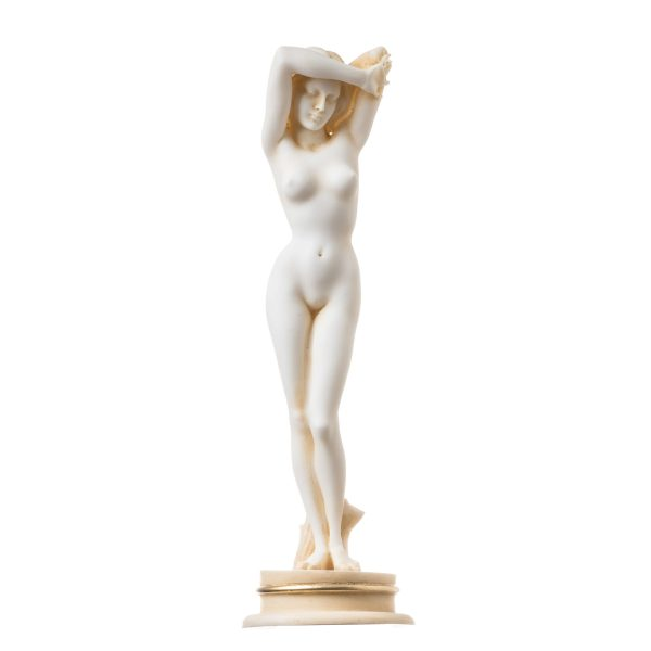 Naked Nude Sexy Female Woman Aphrodite Alabaster Statue Sculpture Gold 9.45″