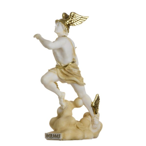 Hermes Mercury God Zeus Son Roman Statue Alabaster Gold Tone 6.69″