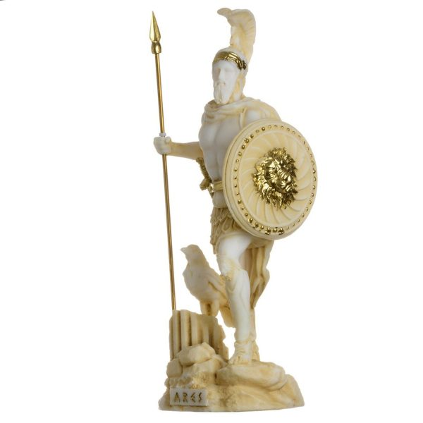 Ares Mars God of War Zeus Son Roman Statue Alabaster Gold Tone 6.3″
