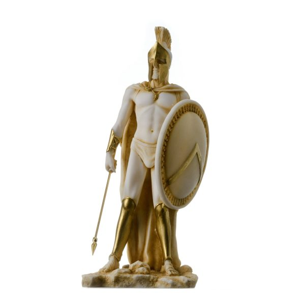 LEONIDAS Statue Greek Spartan King Sculpture Figure Alabaster Gold Tone 9″/ 23cm