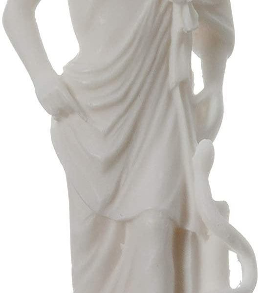 Asclepius Alabaster statue Ancient Greek God of medicine artifact 6.7″