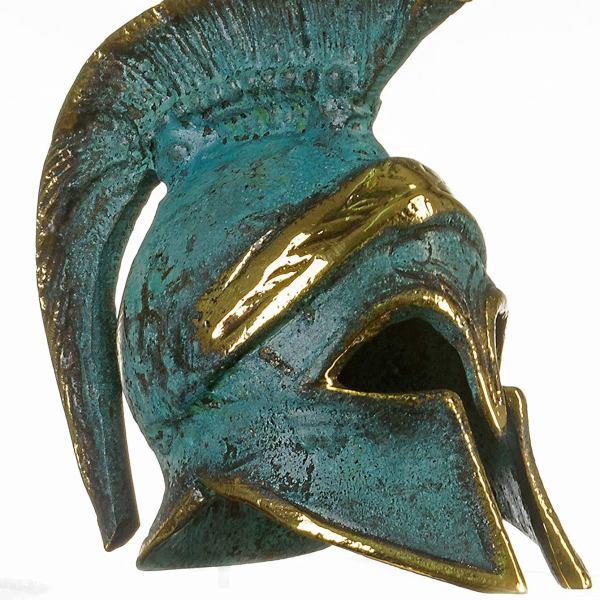 Ancient Greek Bronze Miniature Helmet Bronze Oxidation Handmade 3.34″