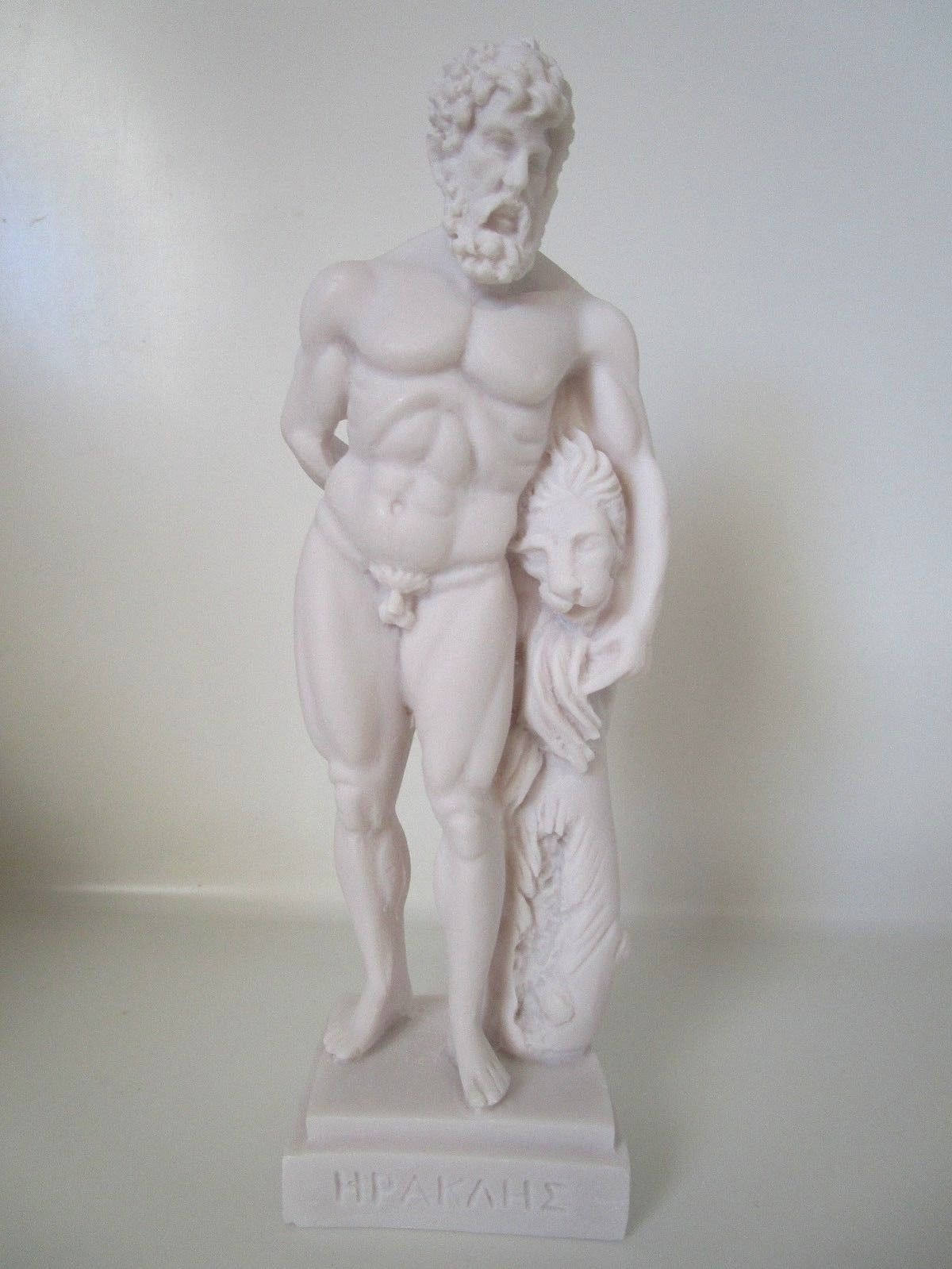 Hercules Nemean Lion Nude Male Alabaster Statue Sculpture NEW Mythology 9.8""