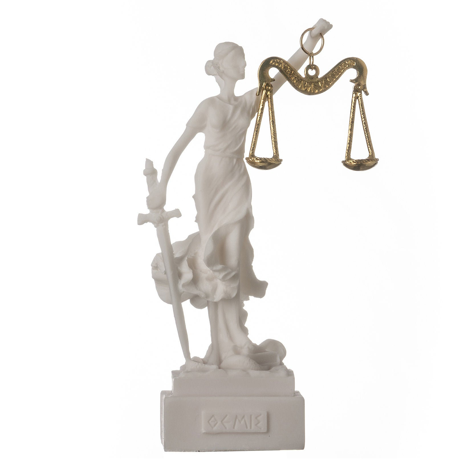 """Greek goddess themis statue figurine blind lady justice sculpture lawyer gift 5.5"""" 14cm square base"""