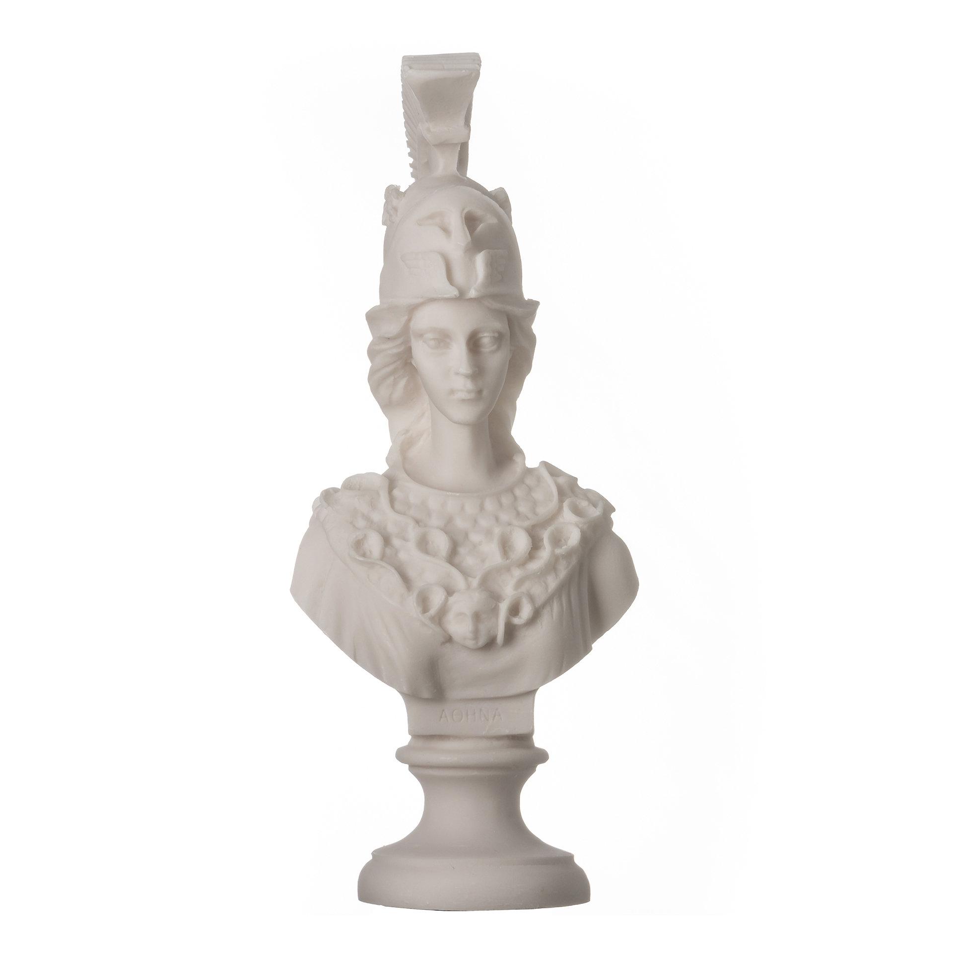 "Sculpture Athena Athene Goddess Of Wisdom Alabaster Statue Bust 7.9"""