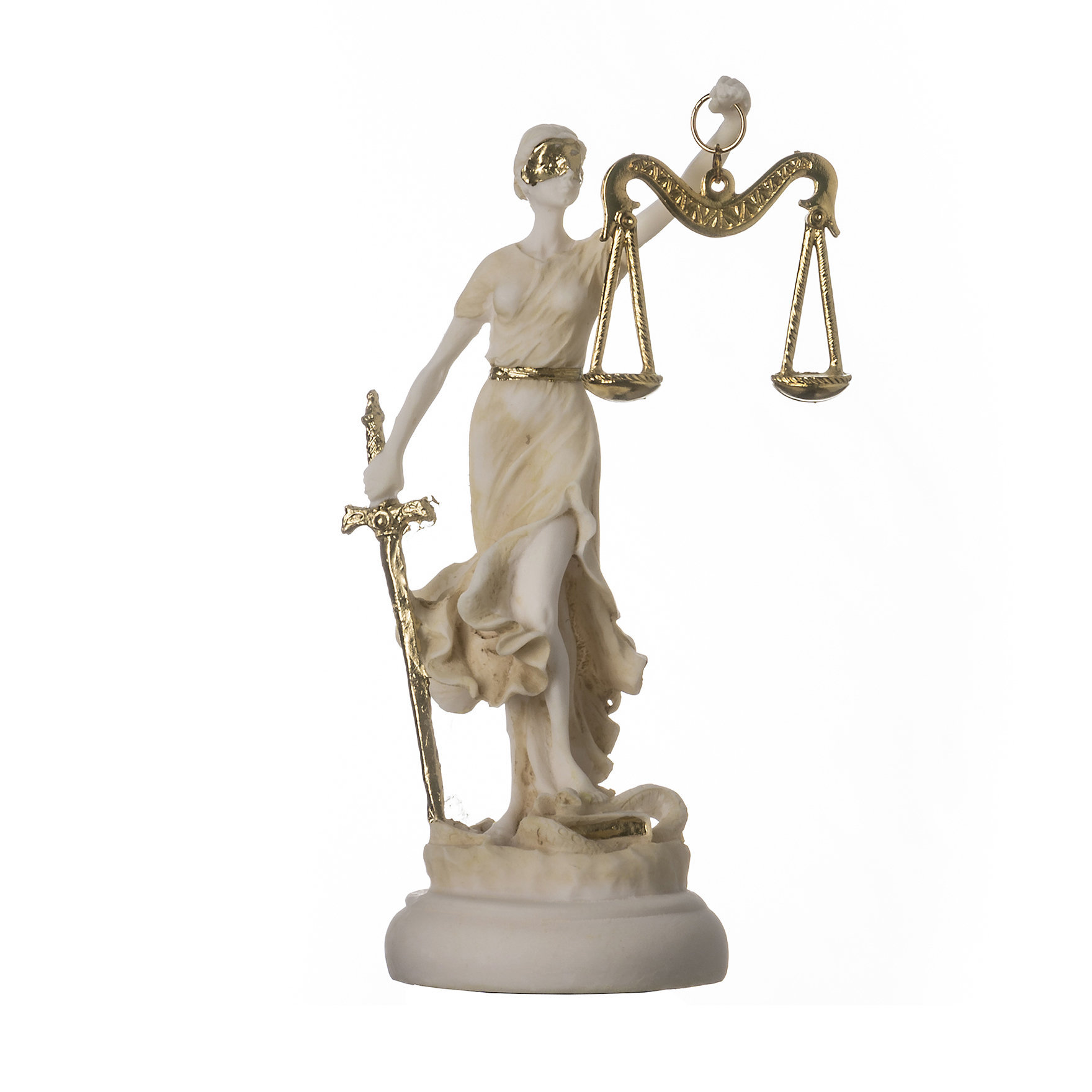 "Greek goddess themis statue gold colour figurine blind lady justice sculpture lawyer gift 5.5"" 14cm"